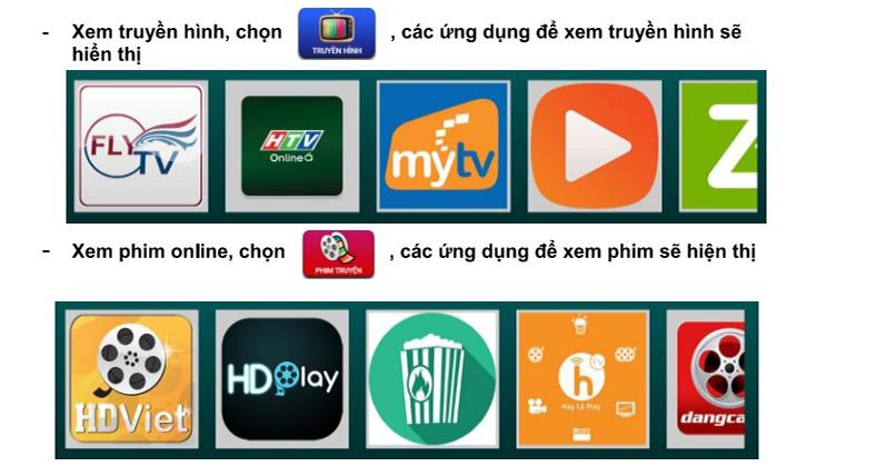 Các ứng dụng xem phim, truyền hình
